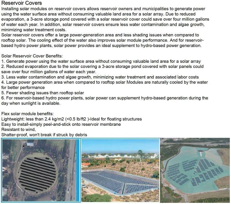 flexible solar panel for resevoir cover