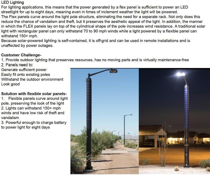 flexible solar panel for light pole