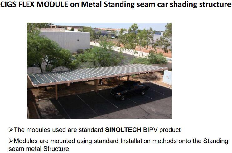 CIGS module flex for car shading roof