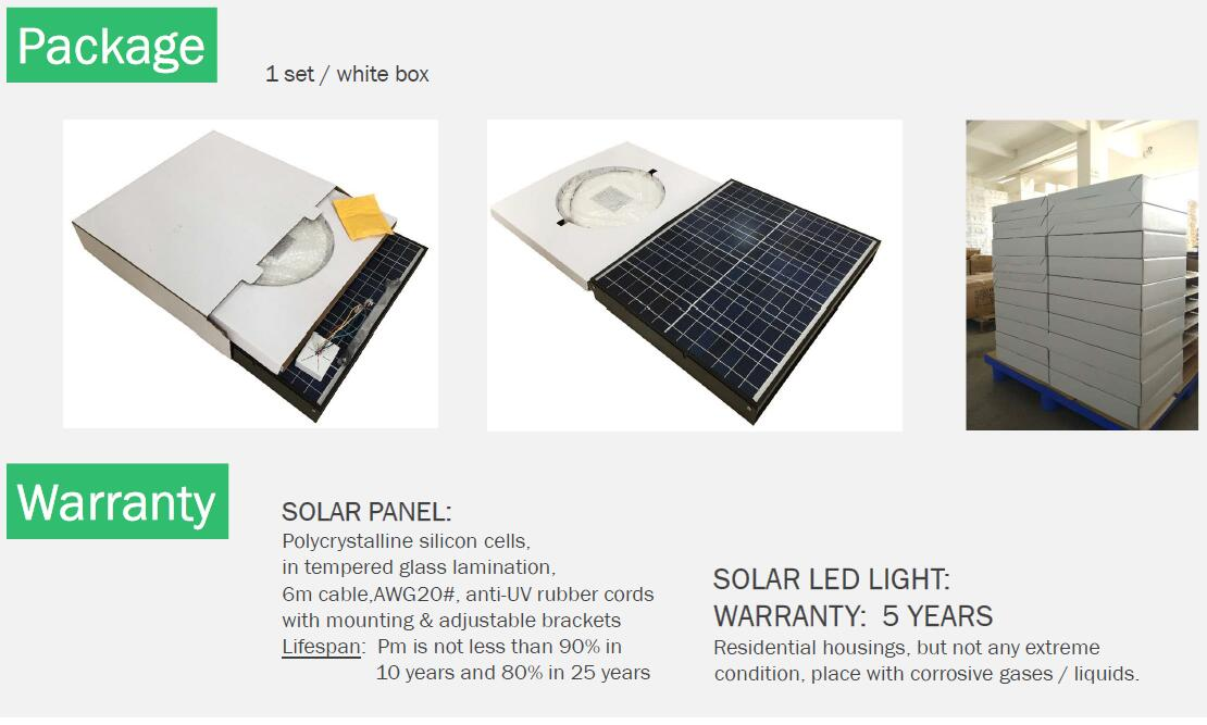 package and warranty for solar led light