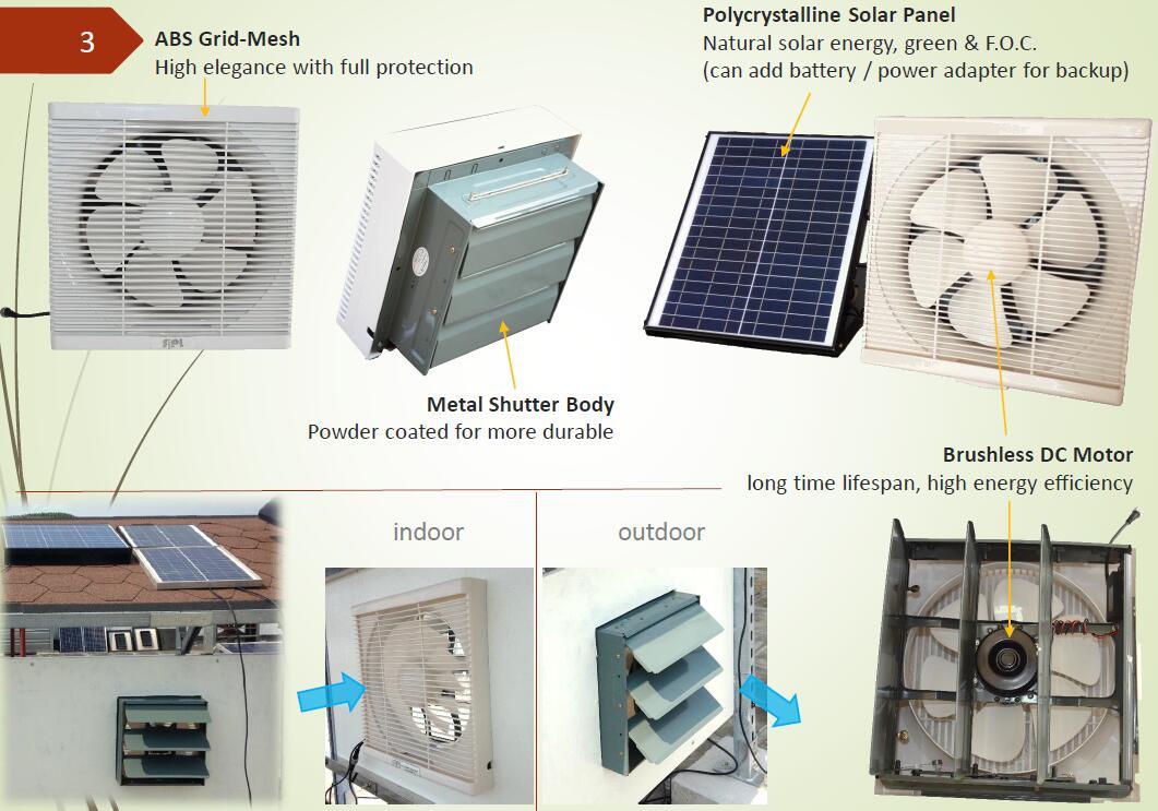 Louvered solar exhaust fan