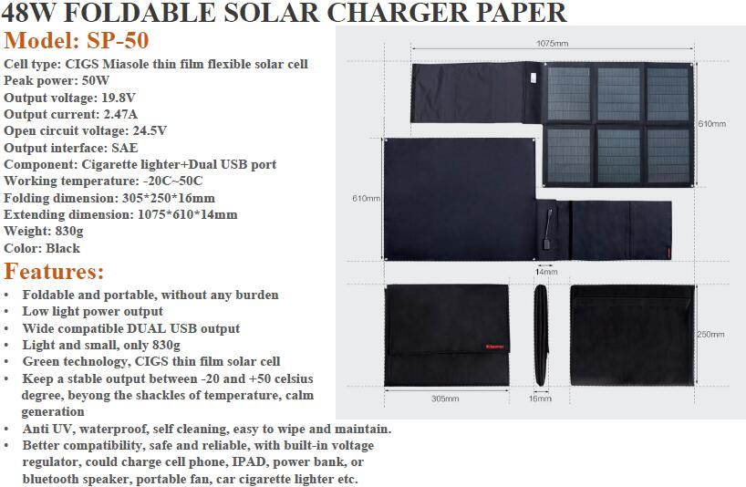 48W folding solar charger bag