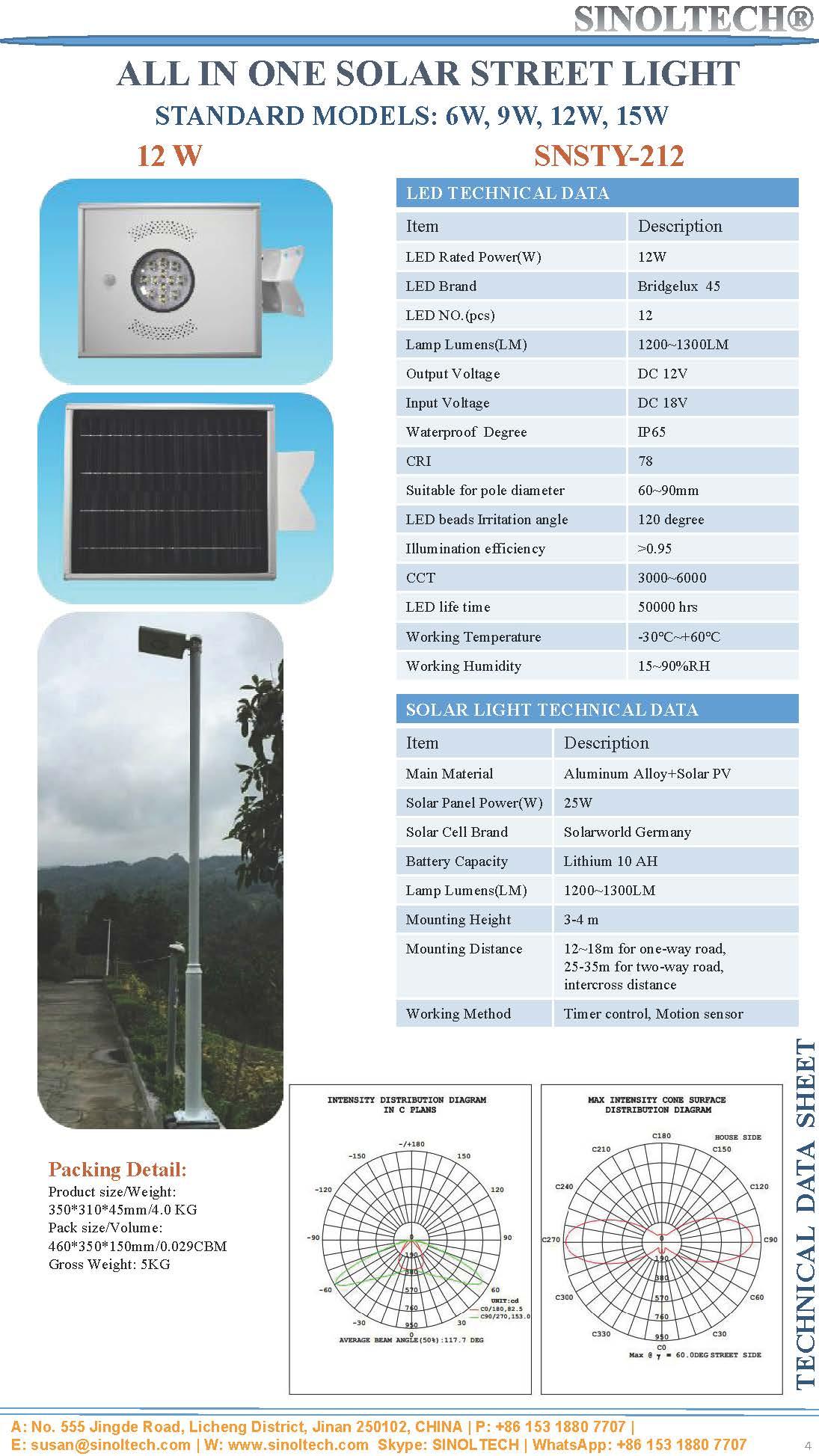 12W LED Integrated solar garden light