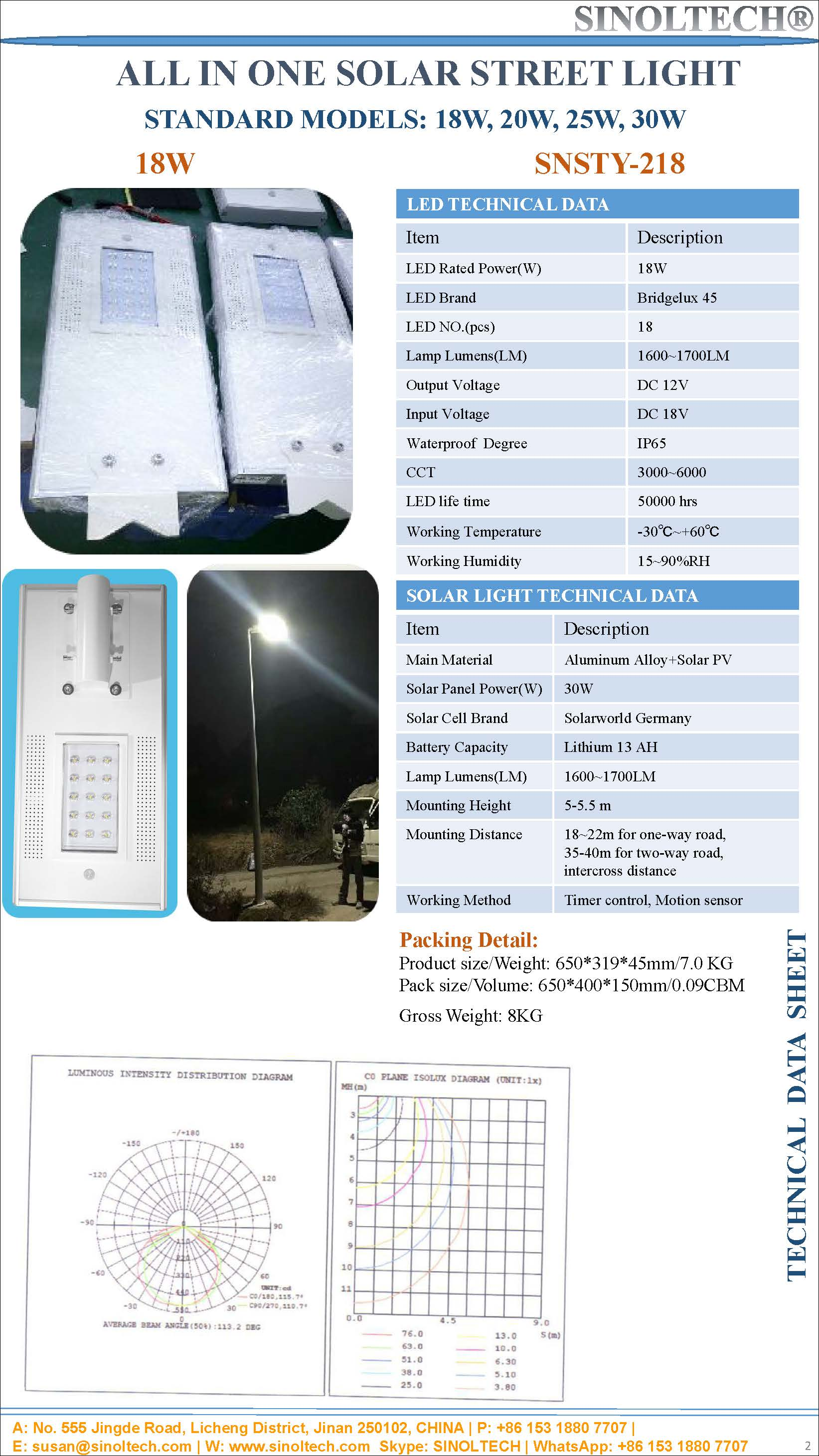 18W LED solar street light