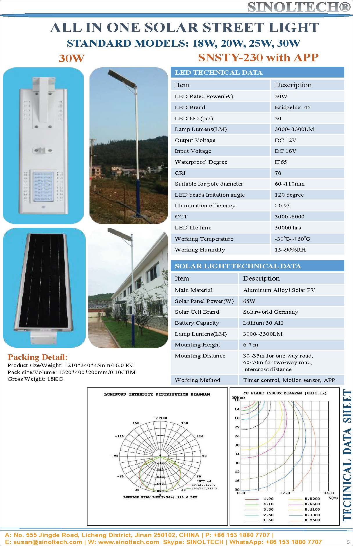 30W LED integrated solar street lamp