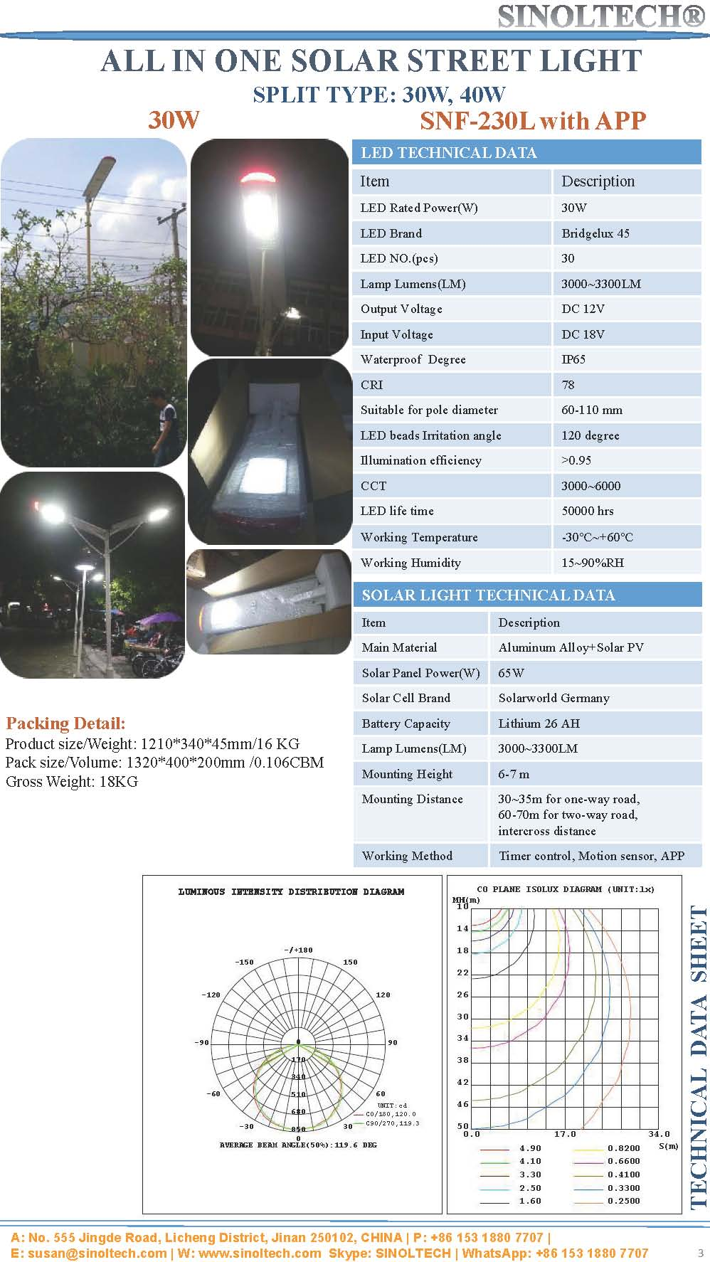 all in one solar street light 30W