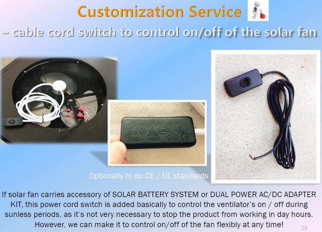 power cord for solar exhaust fan