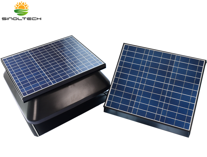 solar battery system for roof vent