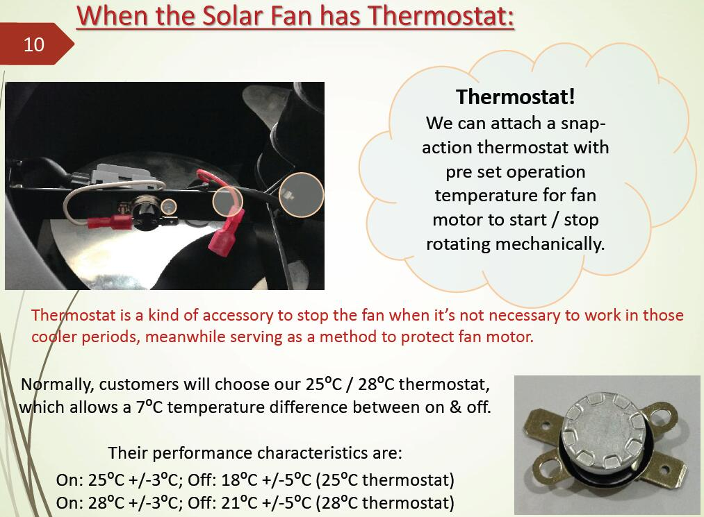 thermostat for solar gable fan