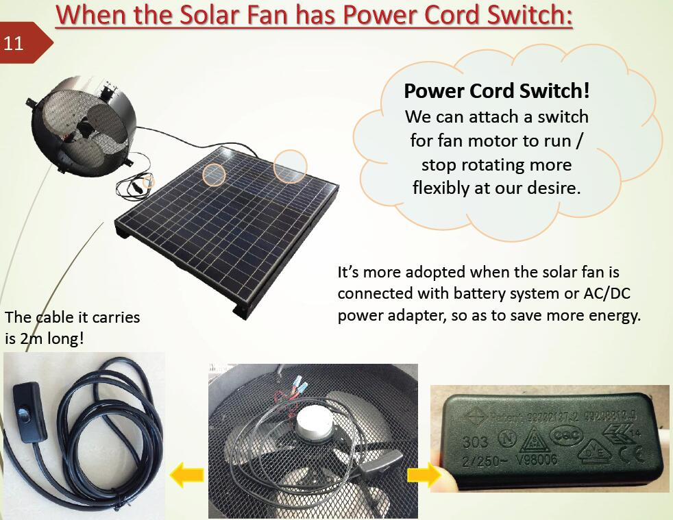 switch for solar gable fan