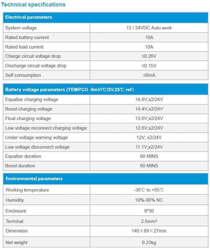 EPRC10-EC solar controller