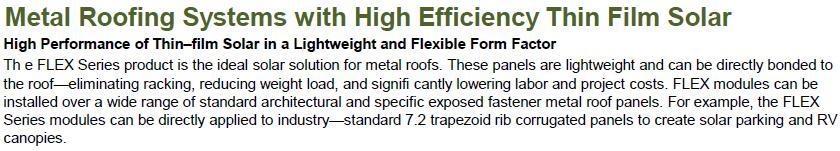 flex solar panel for metal roofing