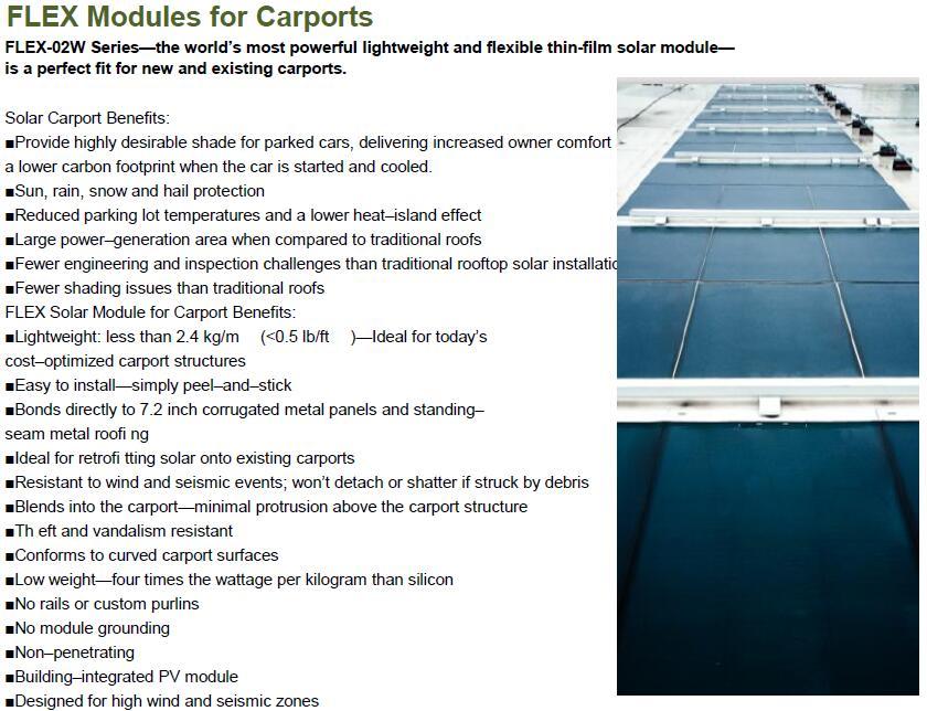 flex solar module for carport