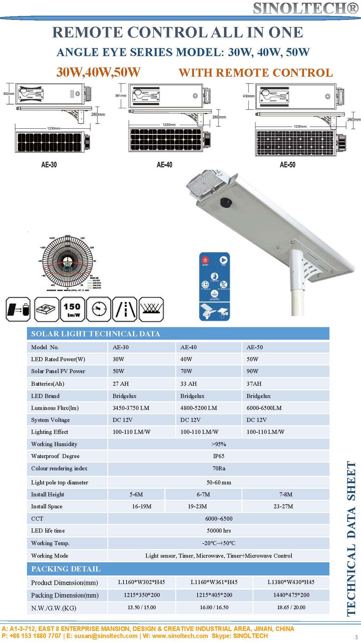 30W 40W 50W agnle eye solar street light