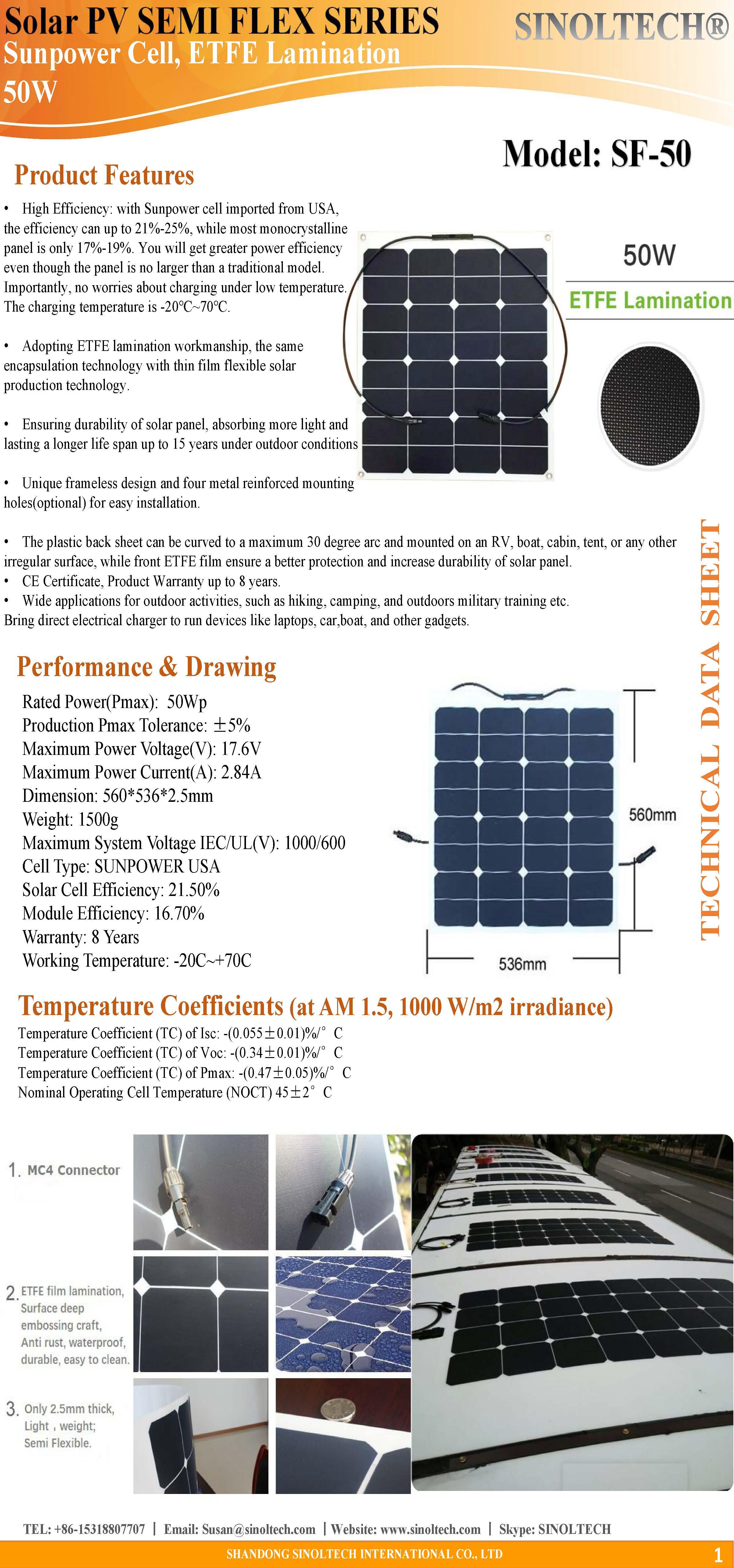 50W Semi flexible solar panel