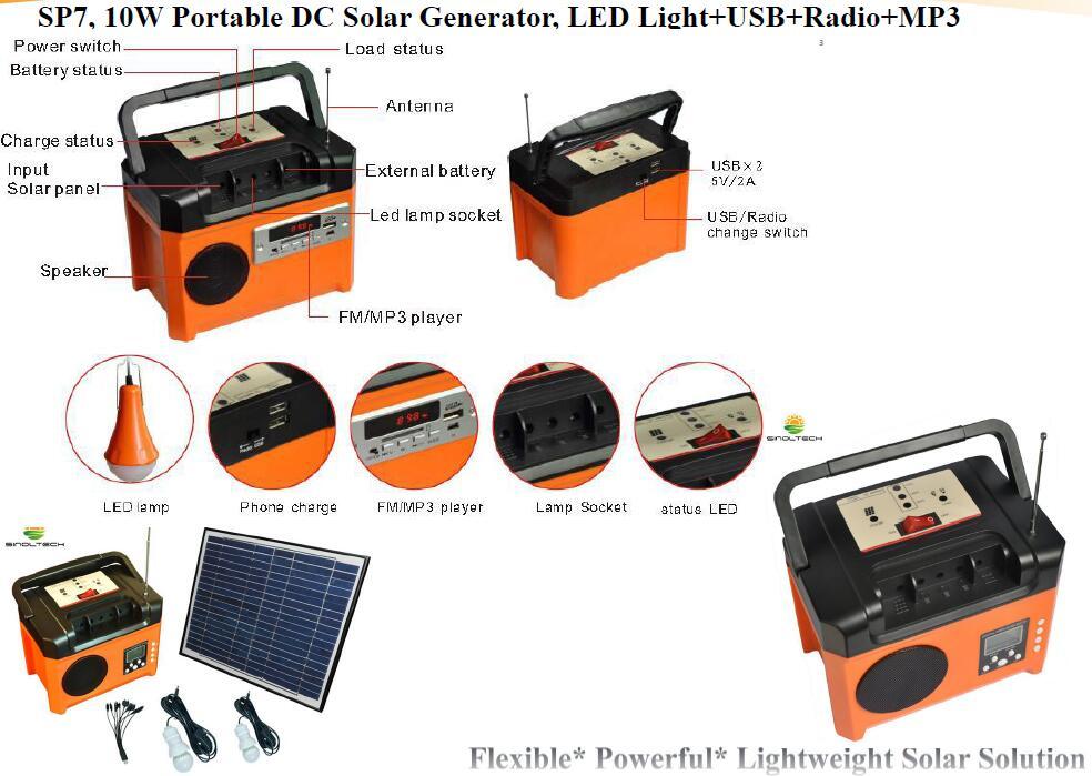 10W portable solar generator