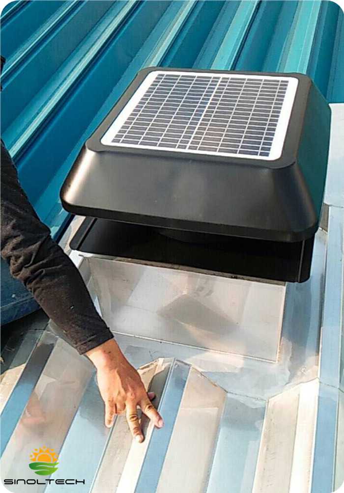 solar attic vent for metal roof